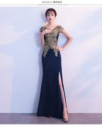 Phong Cách Trung Hoa Bánh Mì Nướng Cô Dâu Đỏ 2018 Mẫu Mới Cho Mùa Đông Đuôi Cá Ôm TIỆC CƯỚI DẠ Phục Váy Nữ Dáng Dài