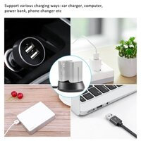 Portable Mini Camera USB Double Battery Charger with Charging Indicator Light