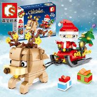 Senbao Giáng Sinh 601091 Series Santa Xe Trượt Tuyết Tuần Lộc Quà Tặng Trẻ Em Lắp Ráp Lắp Ghép Khối Xây Dựng Đồ Chơi