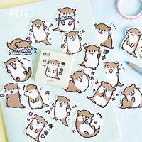 Set 45 sticker tự làm hình rái cá dễ thương để trang trí lưu bút