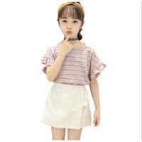 Set bộ áo thun và quần giả váy kaki cho bé gái đi chơi dự tiệc phong cách Hàn Quốc từ 13-38kg - 110 13-16kg