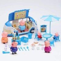 Set đồ chơi Gia đình heo Peppa Pig đi ô tô dã ngoại mẫu mới nhất