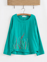 Spring Womens Embroidery O-neck Long Sleeve Blouses