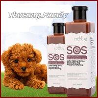 Sữa tắm SOS cao cấp cho Chó màu lông nâu đỏ. Loại đục và gel trong như nhau.