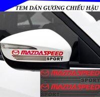 Tem dán gương chiếu hậu ô tô MAZDA SPEED (Đen Đỏ) - Decal Mirror