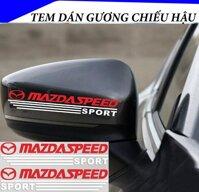 Tem dán gương chiếu hậu ô tô MAZDA SPEED (Đỏ Trắng) - Decal Mirror
