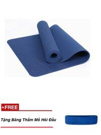 Thảm tập yoga TPE cao cấp Zeno 6mm + Tặng băng chắn mồ hôi đầu (xanh đậm)