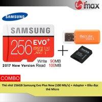 Thẻ nhớ 256GB Samsung Evo Plus New (100 Mb/s) + Adapter + Đầu đọc thẻ Micro