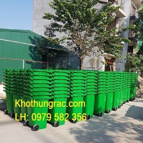Thùng rác công cộng 240 lít - có bánh xe