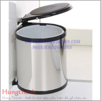 Thung rac tron inox canh ban le 13 lit China E0103