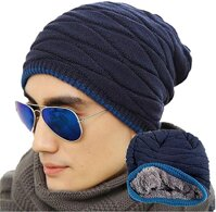 Tinksky Men's Soft Lined Thick Knit Skull Cap Warm Winter Slouchy Beanies Hat Christmas Gift for Men (Wollen Navy Blue)