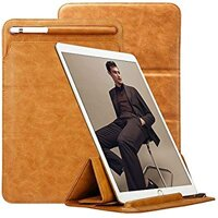 TOOVREN Trifold Case Sleeve for iPad Air 10.5'' 3rd Generation 2019/ iPad Pro 10.5'' 2017 with Apple Pencil Holder Leather PU Slim Protective Microfiber Lining Pouch Cover for New iPad (Brown)