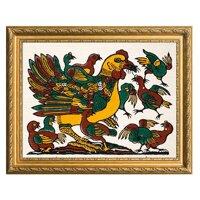Tranh Đông Hồ - Bừa Đàn gà mẹ con - không kèm khung tranh (kích thước 26x37) Dong Ho folk paintings - Viet Nam national cultural heritage