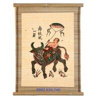 Tranh Đông Hồ - Bức Chăn trâu thả diều (Tranh mành tre - kích thước 34x40) Dong Ho folk paintings - Viet Nam national cultural heritage