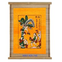 Tranh Đông Hồ - Bức Hứng dừa (Tranh mành tre - kích thước 34x40) Dong Ho folk paintings - Viet Nam national cultural heritage