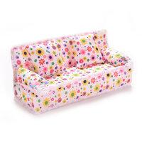 Tuyệt Đẹp 3 Cái/bộ Sofa Giường 2 Đệm Cho Barbies Trẻ Em Nhà Búp Bê Đồ Nội Thất In