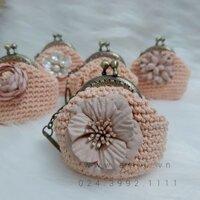 Ví cỏ mỹ nhân hồng pastel - Quà tặng cao cấp từ len - SP000173