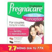 Viên uống tăng khả năng thụ thai Vitabiotics Pregnacare Him and Her Conception 60 viên