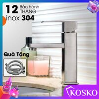 Vòi lavabo nóng lạnh inox SUS 304 vuông cao 20cm (Hàng chuẩn loại 1) (Tặng dây cấp) phù hợp với mọi loại chậu rửa mặt 1 Lỗ Vòi rửa mặt 1 lỗ vòi chậu thường – chậu dương vành – chậu âm bàn (Bảo hành 12 tháng - 1 đổi 1 trong vòng 7 ngày) [bonus]