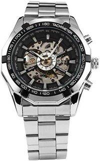 WINNER Men`s Skeleton Dial Steel Strap Self-Wind Mechanical Watch (Black Face) (Style 1)
